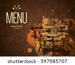restaurant menu design. vector... | Shutterstock .eps vector #597585707
