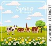 card  farm  cow. landscape...   Shutterstock .eps vector #597586757