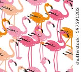 the flock of flamingos on the... | Shutterstock .eps vector #597591203