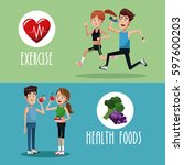 brochure exercise food healthy | Shutterstock .eps vector #597600203