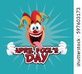 april fools day with cheerful... | Shutterstock .eps vector #597603173