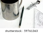 technical drawing with mug ... | Shutterstock . vector #59761363