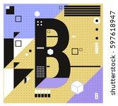 vector letter b memphis style... | Shutterstock .eps vector #597618947