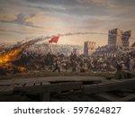 historic war  death by... | Shutterstock . vector #597624827