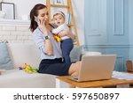 inspiring charismatic mother...   Shutterstock . vector #597650897
