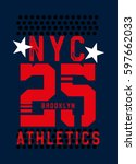new york brooklyn athletics t... | Shutterstock .eps vector #597662033