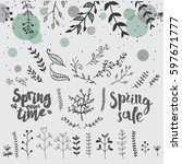 hand drawn spring floral vector ... | Shutterstock .eps vector #597671777