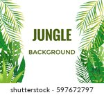 jungle background. jungle trees ... | Shutterstock .eps vector #597672797
