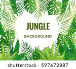 jungle background. jungle trees ... | Shutterstock .eps vector #597672887