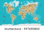 world map  highly detailed... | Shutterstock .eps vector #597690803