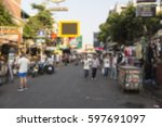 blur background of khao san... | Shutterstock . vector #597691097