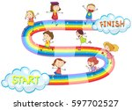 game template with many kids on ... | Shutterstock .eps vector #597702527