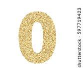 gold glitter alphabet number 0. ... | Shutterstock .eps vector #597719423