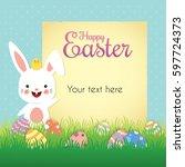 easter egg hunt poster ...   Shutterstock .eps vector #597724373
