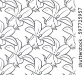 monochrome floral seamless... | Shutterstock .eps vector #597725957