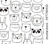 Stock vector cute print with cat lion bear pig frog panda hare owl hand drawn print seamless pattern 597730433