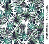 seamless pattern with leaves... | Shutterstock . vector #597732887