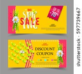 spring sale coupons. colorful... | Shutterstock .eps vector #597739667