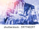 double exposure businessman and ... | Shutterstock . vector #597740297