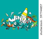 card of windsurfing. board... | Shutterstock . vector #597744857