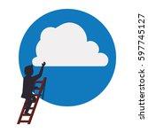 businessman climbing to success ... | Shutterstock .eps vector #597745127