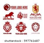 set of lions logotypes   Shutterstock .eps vector #597761687
