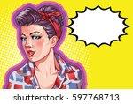 young woman vintage portrait ... | Shutterstock .eps vector #597768713
