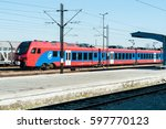 train at the train station.... | Shutterstock . vector #597770123