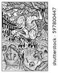 ghoul  cemetery vampire. hand... | Shutterstock .eps vector #597800447