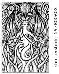 lilith  female demon. hand...   Shutterstock .eps vector #597800603
