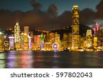 night blur bokeh light hong... | Shutterstock . vector #597802043