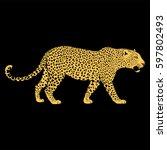 leopard face tattoo  vector...   Shutterstock .eps vector #597802493