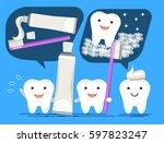 advantages of brushing. good... | Shutterstock .eps vector #597823247