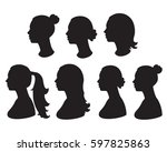 vector set silhouette of woman... | Shutterstock .eps vector #597825863
