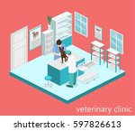 isometric interior of... | Shutterstock .eps vector #597826613