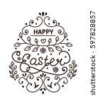 line art design. happy easter... | Shutterstock .eps vector #597828857