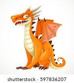 cute cartoon orange dragon... | Shutterstock .eps vector #597836207