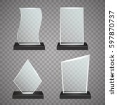 set of transparent glass awards ... | Shutterstock .eps vector #597870737