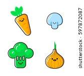 a set of cartoon vegetables... | Shutterstock .eps vector #597872087