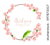 sakura circle frame with... | Shutterstock .eps vector #597873317