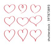red hearts drawn by a marker.... | Shutterstock .eps vector #597873893