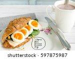 breakfast croissant sandwich...   Shutterstock . vector #597875987