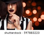 fashion photo of beautiful... | Shutterstock . vector #597883223