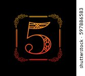 decorative number 5 with... | Shutterstock .eps vector #597886583