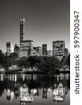 midtown skyscrapers reflecting... | Shutterstock . vector #597900347