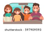 happy family in the car. merry... | Shutterstock .eps vector #597909593