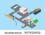 logistics and transportation ... | Shutterstock .eps vector #597920933