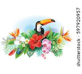 toucan and tropical flowers | Shutterstock .eps vector #597920957