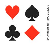 playing cards suits. spades ... | Shutterstock .eps vector #597923273