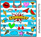 chic fashion summer patch... | Shutterstock .eps vector #597927773